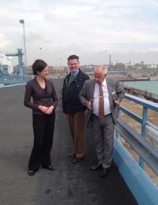 Besök i Trelleborgs hamn av Moderaternas gruppledare i riksdagen Anna Kinberg-Batra. Med på bilden är Tommy Halén, VD för Trelleborgs Hamn AB