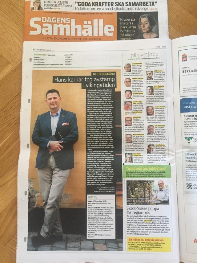 Reportage i Dagens Samhälle om mitt nya liv .. eller i alla fall min nya tjänst.